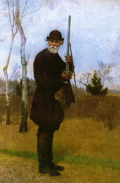 Ivan Turgenev hunting (1879) by Nikolai Dmitriev-Orenburgsky.  Ivan Sergeyevich Turgenev (1818-1883), Russian writer.    His best-known work is Fathers and Sons, first published in 1862.