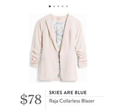 Kate~ #1 request for Fix 12... Skies Are Blue Raja collarless blazer~cream, ivory, off-white.