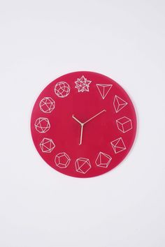 """Solid Ho"" clock by Paula Collective. #paula_collective #solid_ho #clocks #pink #time #shapes #white"