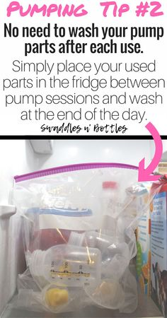 Pumping Tip #2- Don't wash your pump parts after every wash. Instead, store them in a plastic bag in the fridge and wash once at the end of each day. For more breastfeeding and pumping tips, be sure to follow swaddles n' bottles!