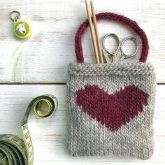 Intarsia Heart Gift Bag #knittingpatternsbags