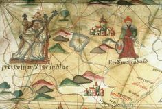 """Preste Iuan de las Indias"" (Prester John of the Indies) positioned in East Africa on a 16th century Spanish Portolan chart,"