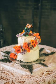 Chocolate & Sweet Basil Buttercream Wedding Cake with Handmade Clay Topper by artist Abigale Fortnum // DIY Lancaster, PA wedding for under $5000! // Kate L Jeffreys Photography // LeeMaeMarie Blog