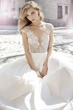 Style 8704 - Jim Hjelm by Hayley Paige Bridal Taffeta, lace, cap sleeve, ball gown, pockets, bridal