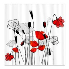 Whimsical Red Poppies Shower Curtain pair with fake red poppies in a glass on the sink! remember- your downstairs bathroom is the guest bathroom as well!