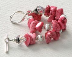 Pink Turquoise & Silver Bracelet by RuffinoGlassStudio on Etsy, $27.00