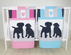 Puppy Baby Quilt Dog Twin  Crib Bedding by Customquiltsbyeva