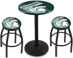 Michigan State Spartans D2 Black Pub Table Set. Available in two table widths.  Visit SportsFansPlus.com for Details.