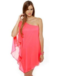 Pretty Pink Dress - One Shoulder Dress - Neon Pink Dress - $41.00