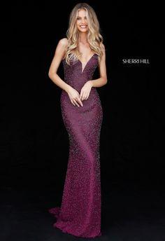 Sherri Hill 50860 Plum Fully Beaded Maroon Deep Red Fuchsia Purple Stunner Ypsilon Dresses Pageant Prom Black Tie Formal Formalwear