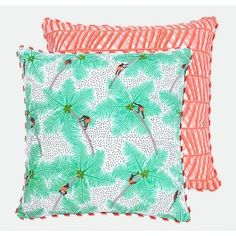 Coconut Palm Pickers Cushion Cover - Coral 30x40cm, 45x45cm and 70x70cm From Alleppey Collection #Cushion #pattern #handprinted #coral #kerala #homedecor #travel #reversible www.safomasi.com