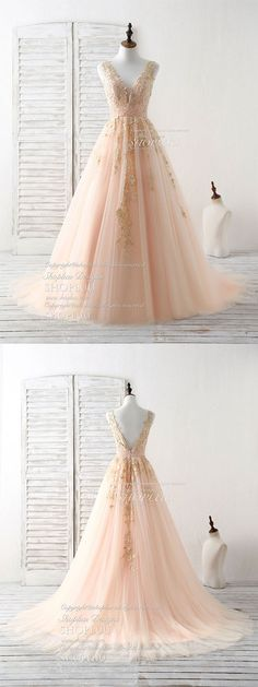 Unique v neck tulle lace applique long prom dress, evening dress, champagne pink tulle long formal dress