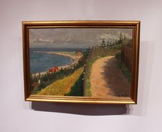 Oil painting with motif of the danish beach signed by S. Wethje. The painting is in great vintage condition and with gilded frame. H - 43 cm and W - 60 cm.