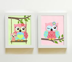 Owls Nursery Art    Nursery art Set of 2  8X10  Prints by MuralMAX