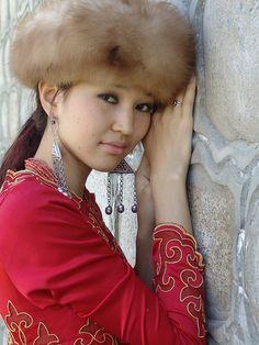 Kyrgyz woman in a fur hat