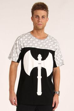 Throwing down more knight's weaponry than your average medieval pub brawl, ilabb's Incentive Tee is covered in miniature axes, as well as one large mutha across the front.