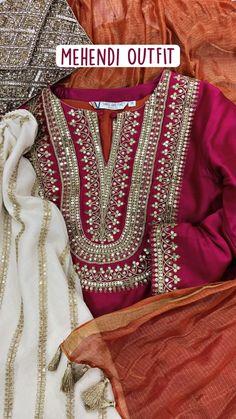 Dress Neck Designs, Kurti Neck Designs, Kurti Designs Party Wear, Simple Pakistani Dresses, Pakistani Dress Design, Mehendi Outfits, Indian Outfits, Eastern Dresses, Girls Dresses Sewing