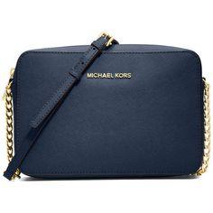 MICHAEL Michael Kors Jet Set Travel Large Saffiano Crossbody Bag ($160) ❤ liked on Polyvore featuring bags, handbags, shoulder bags, purses, me, michael kors, sac, navy, blue shoulder bag and crossbody shoulder bags
