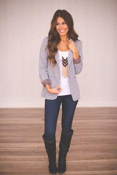 Dottie Couture Boutique - Grey Blazer, $59.00 (http://www.dottiecouture.com/grey-blazer/)