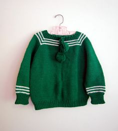 vintage handmade emerald green pompom sweater