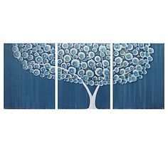 Acrylic Painting Triptych Wall Art Canvas  Blue and by Amborela