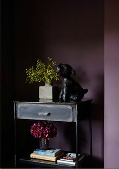 Gorgeous dark mulberry / purple walls created using Abigail Ahern's paint 'Bleecker'