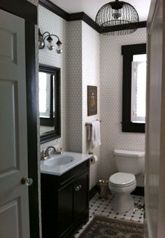 penny tile all the way to the ceiling and black trim. Magpie: House Romantics: Steele Thomas Marcoux