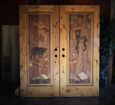 Custom knotty alder doors with black bear carvings Custom Wood Doors, Wooden Doors, Carved Wood, Hand Carved, Knotty Alder Doors, Black Bear, Carving, Home Decor, Decoration Home