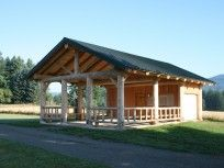 Romtec Handcrafted Log Pavilion: has good balance between open space and enclosed space.