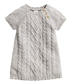 Check this out! Short-sleeved knit dress in a cotton blend with wool content. Knit pattern at front and on sleeves. Buttons on one shoulder. - Visit hm.com to see more.