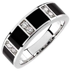 14Kt White Gold Charming Black Onyx and Diamond Men's Wedding Band Wedding Ring Finger REVIEW