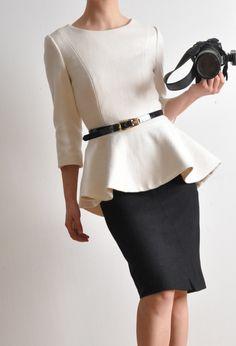 White Virgin Wool 3/4 Sleeves Peplum Flared Hem Winter Victotrian Lady Suit Top. $199.80, via Etsy.