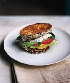 Eggplant sandwich, use flax seed instead of egg for vegan goodness!