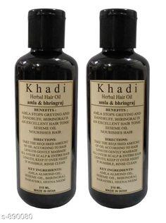 Hair Care Khadi Amla & Bhringraj Hair oil ( Pack of 2 )   *Type* Hair Oil  *Capacity* 210 ml X 2  *Description* It Has 2 Pack Of Hair Oil (Khadi Herbal Amla & Bhringraj)  *Sizes Available* Free Size *   Catalog Rating: ★4.1 (444)  Catalog Name: Free Sample KHADI Hair Care Products Vol 13 CatalogID_103988 C50-SC1249 Code: 512-890080-
