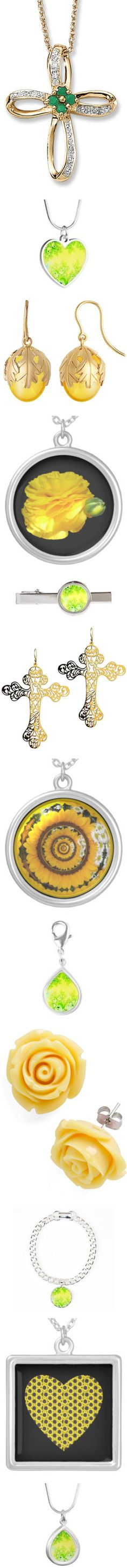 * #JEWELRY: #YELLOW & #GREEN * by artist4god-rose-santuci-sofranko on Polyvore featuring polyvore, fashion, jewelry, pendants, cross charms, sterling silver stone jewelry, sterling silver cross charm, stone jewellery, diamond accent jewelry, necklaces, silver heart shaped necklace, yellow jewelry, silver jewellery, heart necklace, silver jewelry, earrings, yellow, round earrings, wire jewelry, long dangle earrings, long earrings, long wire earrings, gardening, natural, yellow necklace, home…