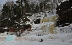 Apostle Islands National Lakeshore 2014 Ice Caves. Wide angle view of the shoreline showing the ice on the cliffs.