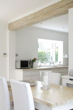 Wood beam ceiling - 50 Affordable White Wood Beams Ceiling Ideas For Cottage – Wood beam ceiling Kitchen Living, New Kitchen, Kitchen Decor, Kitchen Design, Kitchen Wood, Dresser In Kitchen, Kitchen Cabinets, Craftsman Kitchen, Farmhouse Kitchens
