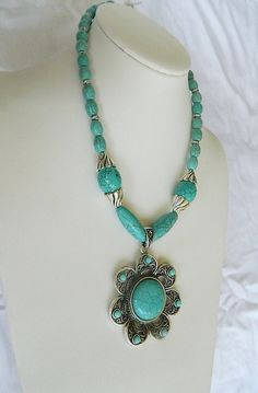 Big turquoise necklace by JewelrybyDecember67 on Etsy, $65.00