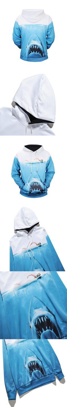 New Fashion Hoodies Men/Women 3d Sweatshirts Print Ocean Shark Thin Hooded Hoody Tracksuits Pullovers