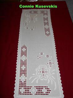 White on White Hardanger Table Runner