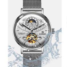 Switzerland Automatic Watch Men BINGER skeleton Mechanical Me - chicmaxonline