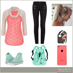 Out & About by kylie-325 on Polyvore featuring J Brand, Converse, Victoria's Secret PINK and Skinnydip