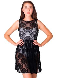 American Apparel China Lace Sleeveless Dress Small Black