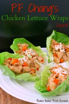 This P.F. Chang's Chicken Lettuce Wraps Recipe is a copycat from the delicious restaurant version.  chicken and vegetables sautéed in a stir-fry sauce! | tastesbetterfromscratch.com via @betrfromscratch