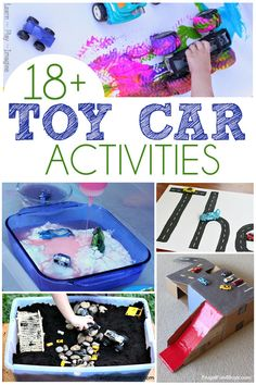 18 Toy Car Activities - A ton of fun activities using our favorite toy cars! Includes painting monster truck demolitions letter and color recognition. Activity Toys, Craft Activities For Kids, Projects For Kids, Learning Activities, Preschool Activities, Crafts For Kids, Learning Letters, Project Ideas, Toddler Car