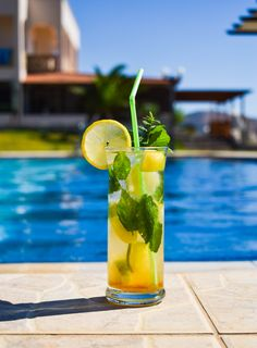 Relax by the pool and soak up the sun! Enjoy our refreshing cocktails, drinks, coffee and snacks! Refreshing Cocktails, Cantaloupe, Swimming Pools, Relax, Snacks, Sun, Fruit, Coffee, Drinks
