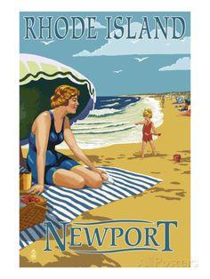 Newport, Rhode Island - Beach Scene Art by Lantern Press at AllPosters.com