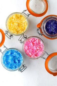 DIY Gift Idea- Sparkling Flower-scented Coconut Oil Sugar Scrubs DIY Gifts - BoulderLocavore.com