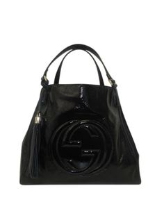 99472d74eb2e7 Gucci Black Patent Leather Soho Medium Shoulder Tote - Keeks Buy + Sell  Designer Handbags