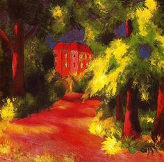 August Macke - 1914 Red House in a Park, oil on canvas